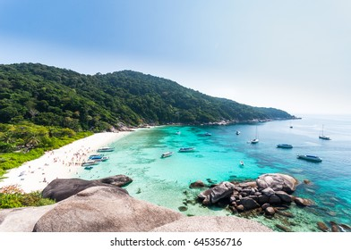 Beautiful tropical beach and blue sky background. Seascape or Landscape at similan island, andaman sea, pacific ocean. Similan Island,beautiful tropical island ,Thailand National park