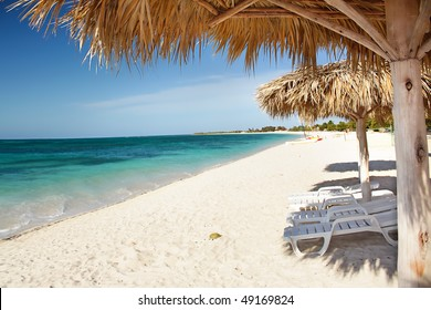 Beautiful tropical  beach at the Caribbean island with white sands and turquoise  water, Cuba