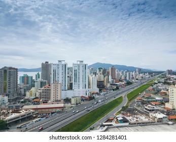 Beautiful tropical beach and city in Itapema SC Brazil
