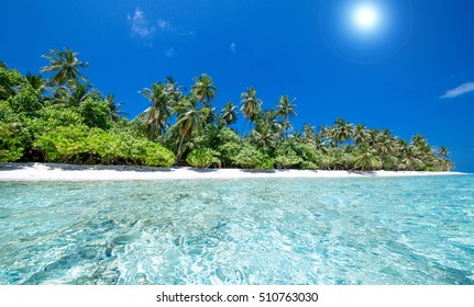 beautiful tropical beach with coconut palm trees and clear turquoise water