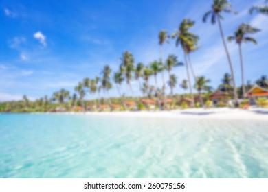 Beautiful tropical beach in defocus. Nature background