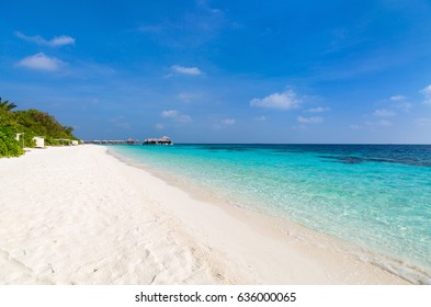 Beautiful tropical beach on exotic island at Maldives