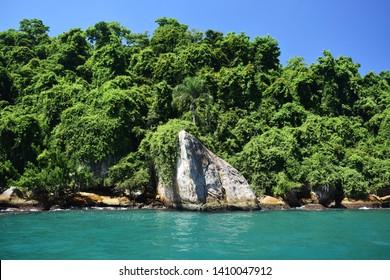 Beautiful tropical beach on the Ilha Grande. Ilha Grande is an island located off the coast of Rio de Janeiro state, Brazil.