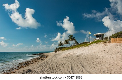 Beautiful tropical beach on Jupiter Island in Hobe Sound Florida.