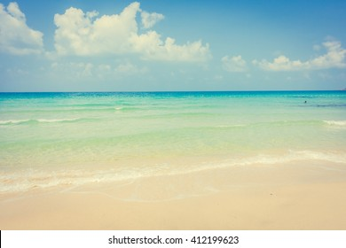 Beautiful tropical beach and sea landscape - vintage Filter