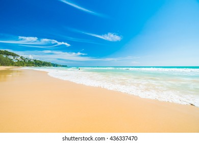 Beautiful tropical beach and sea on blue sky background with copy space for text