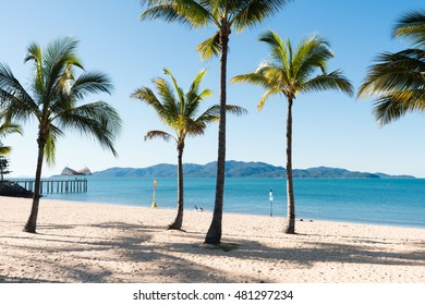 Beautiful tropical beach The Strand, Townsville with Magnetic Island in the background