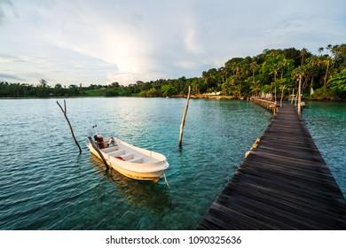 Beautiful tropical beach and wooden bridge in island Koh Mak , Thailand