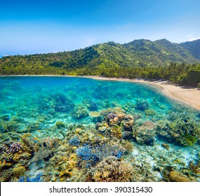 Beautiful tropical coast on Lombok,Indonesia under and above water.