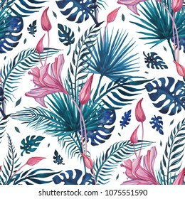 Beautiful Tropical flowers, seamless pattern. Watercolor hand drawn illustration, exotic background