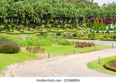 beautiful tropical garden design at royal park rajapruek Chiang Mai, Thailand