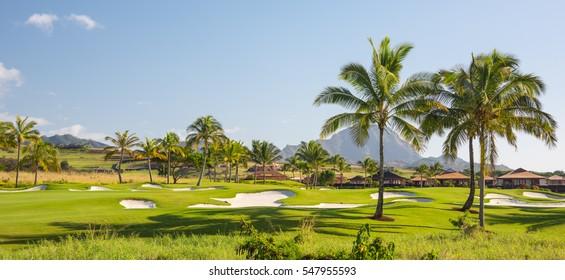 Beautiful tropical golf course on a sunny summer day on Kauai, Hawaii
