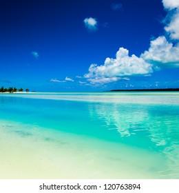 A beautiful tropical island beach scene