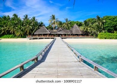 beautiful tropical island at Maldives - travel background