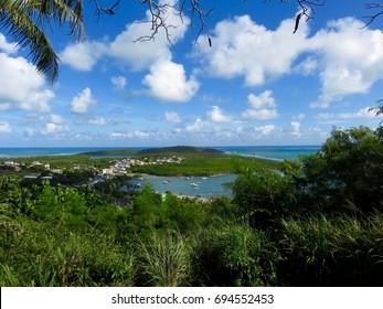 Beautiful Tropical Island Vista of Las Croabas, Natural Reserve Cabezas de San Juan and Bahia las Cabezas, Fajardo, Puerto Rico
