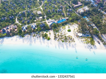 The beautiful tropical Island of Zanzibar aerial view. sea in Zanzibar beach, Tanzania.