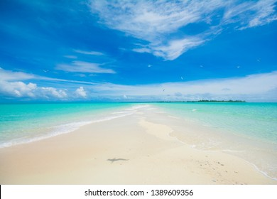 Beautiful Tropical Long Beach in Kayangel island, Palau, Pacific, Heavenly blue