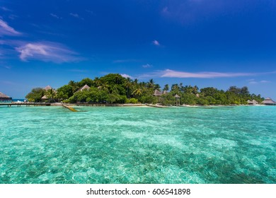 Beautiful tropical Maldives island with beach , sea , and coconut palm tree on blue sky for nature holiday vacation background concept - Boost up color Processing