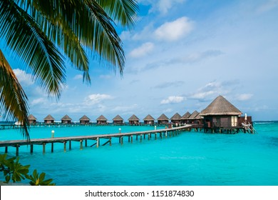 Beautiful tropical Maldives resort and island with beach and sea on blue sky for holiday vacation.