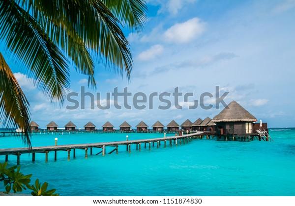 Beautiful Tropical Maldives Resort Island Beach Stock Photo
