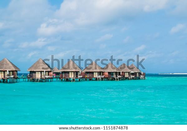 Beautiful Tropical Maldives Resort Island Beach Stock Image