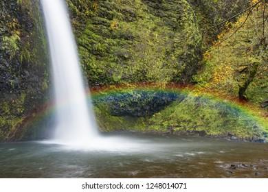 Beautiful tropical rainbow waterfalls and slow exposure soft water.