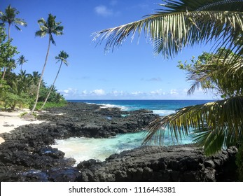 Beautiful tropical Samoan beach landscape at Lefaga, Matautu, Upolu Island, Western Samoa, South Pacific