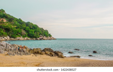 Beautiful Tropical Sand and  rock Beach,Puket Thailand