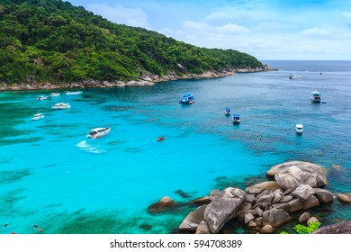 Beautiful tropical sea and blue sky of Similan island, Phang-nga, Thailand