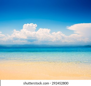 beautiful tropical seascape in the daytime with blue sky background