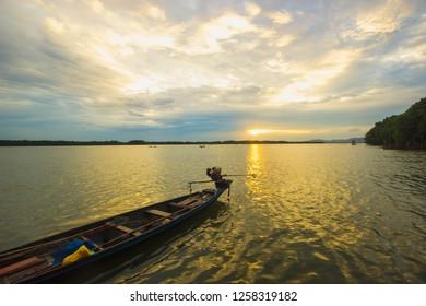 Beautiful tropical sunrise on Fishing village at Amphoe Khlung, Chanthaburi, Thailand  - Shutterstock ID 1258319182