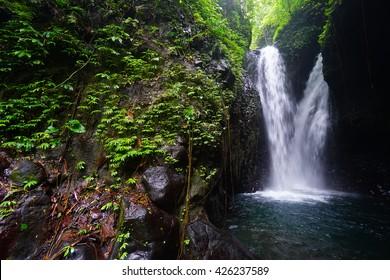 Beautiful tropical waterfall in Indonesia. Bali Island.