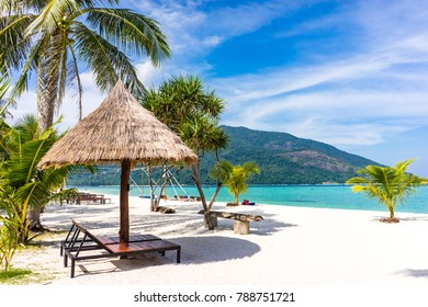 Beautiful tropical white beach with coconut palm trees and beach chairs. Holiday and vacation concept