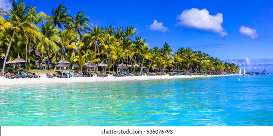 Beautiful tropical white sandy beach and turquoise sea. Mauritius
