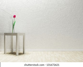 beautiful tulips in a glass vase on the table