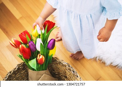 Beautiful tulips in wicker straw basket on background of home interior. Cute little girl with spring flowers bouquet for Mother's Day, Easter and Spring background