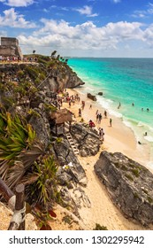Beautiful Tulum beach at Caribbean sea, Mexico