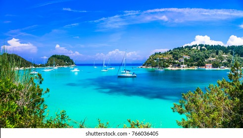 Beautiful turquoise bay in Lakka. Paxos. Ionian islands of Greece