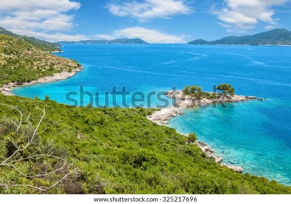 Beautiful turquoise beach close to Dubrovnik, Croatia