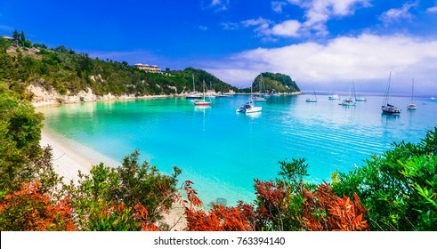 Beautiful turquoise beaches of Greece - Lakka in Paxos. Ionian islands
