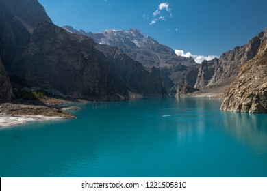 The  beautiful   turquoise  colour of  Attabad  lake   in autumn  season at  northern  Pakistan.