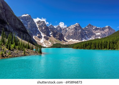 Beautiful turquoise lake of the Rocky mountains, Moraine lake, Banff National Park, Canada.