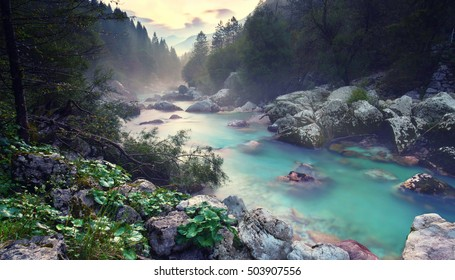 Beautiful turquoise river in the Triglav National Park in Slovenia.Misty autumn morning