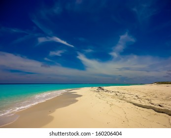 Beautiful turquoise sea and a beach in the archipelago of Los Roques, Caribbean