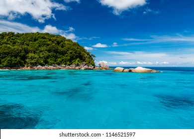 Beautiful turquoise tropical ocean and lush green islands (Similan Islands, Thailand)