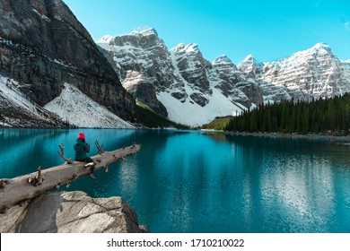 Beautiful turquoise waters, Moraine lake with snow-covered Rocky Mountains in the Banff National Park, Alberta, Canada