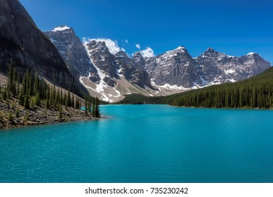 Beautiful turquoise waters of the Moraine lake in Canadian Rockies, Banff National Park, Canada.