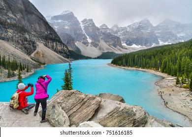 Beautiful turquoise waters of Moraine lake in Banff National Park, Alberta, Canada