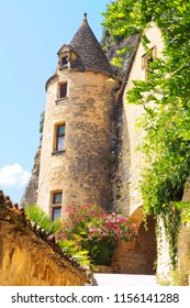 beautiful turret surmounting the entrance of a castle in Dordogne in the southwest of France