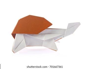 Beautiful turtle of origami, isolated on white background.